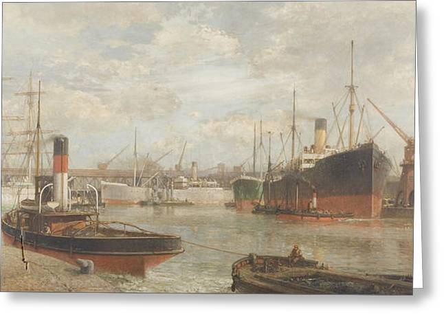 A Glimpse In 1920 Of The Royal Edward Dock, Avonmouth Greeting Card by Arthur Wilde Parsons