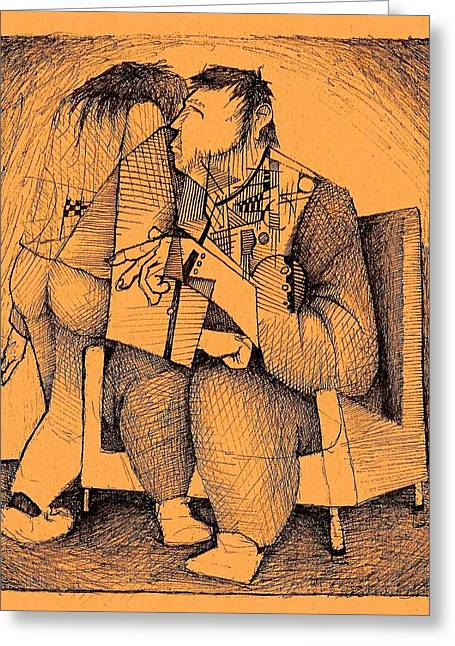 Cubist Drawings Greeting Cards - A Glimpse of What Was Greeting Card by Paul  Van Atta