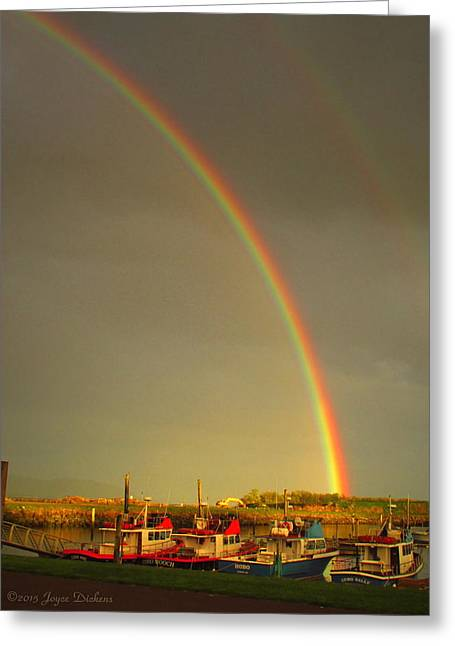 Double Rainbow Greeting Cards - A Glorious End To The Day Greeting Card by Joyce Dickens