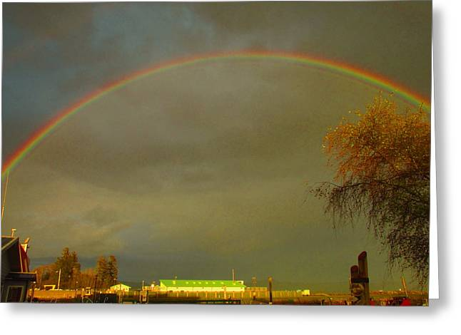 Double Rainbow Greeting Cards - A Glorious End To The Day Two Greeting Card by Joyce Dickens