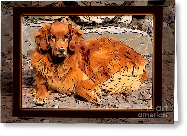 Omaste Greeting Cards - A Golden Retriever Resting Abstract Dog Art Greeting Card by Omaste Witkowski