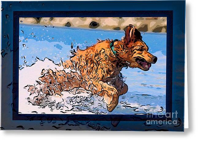 Owfotografik Greeting Cards - A Golden Retriever Splashing Abstract Dog Art Greeting Card by Omaste Witkowski