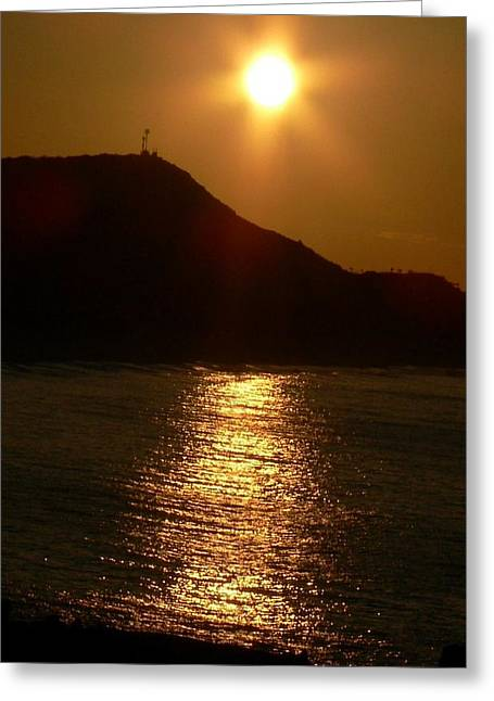 Ocean. Reflection Greeting Cards - A Golden Setting Sun Greeting Card by Judy Schneider
