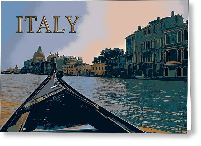 Silk Screen Greeting Cards - A Gondola on the Grand CanaL TEXT ITALY                           l glides toward Greeting Card by Elaine Plesser