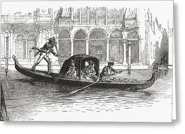 Gondolier Drawings Greeting Cards - A Gondola Transporting Passengers On Greeting Card by Ken Welsh