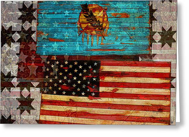 Red And White Quilt Greeting Cards - A Good Day in the USA Greeting Card by Susan Vineyard