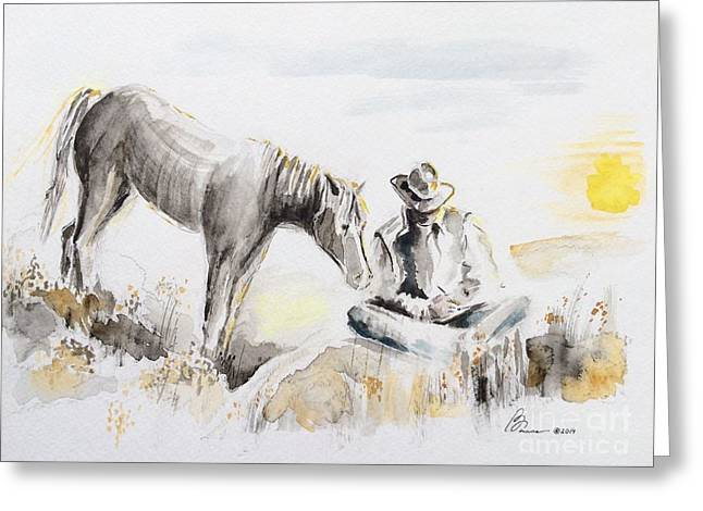 A Good Day Never Comes To An End Greeting Card by Barbara Chase