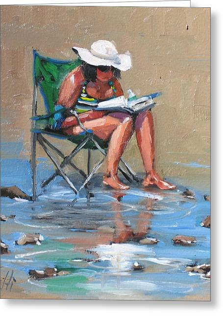 Woman In Hat Greeting Cards - A Good Read Greeting Card by Laura Lee Zanghetti