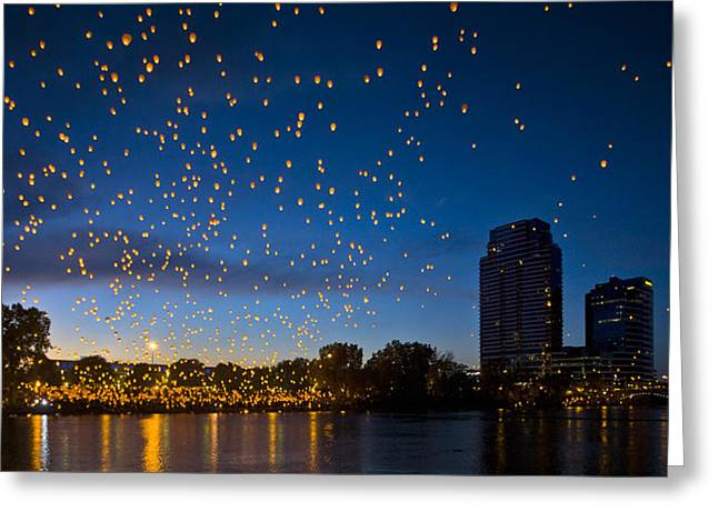 Chinese Lanterns Greeting Cards - A Grand Light Greeting Card by Frederic A Reinecke