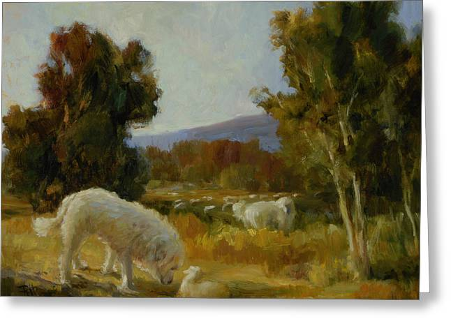 Guard Dog Greeting Cards - A Great Pyrenees with a Lamb Greeting Card by Lilli Pell