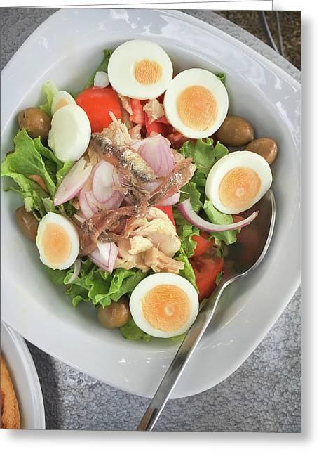 A Greek Salad Greeting Card by Tom Gowanlock