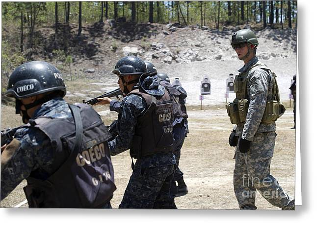 Military Police Greeting Cards - A Green Beret Walks With Tigres Greeting Card by Stocktrek Images