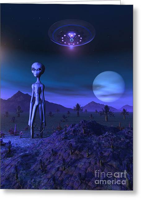 Fantasy Creatures Greeting Cards - A Grey Alien Located On Its Homeworld Greeting Card by Mark Stevenson