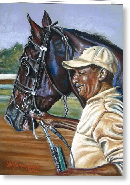 Horse Art Pastels Pastels Greeting Cards - A Grooms Pride Greeting Card by Marni Koelln