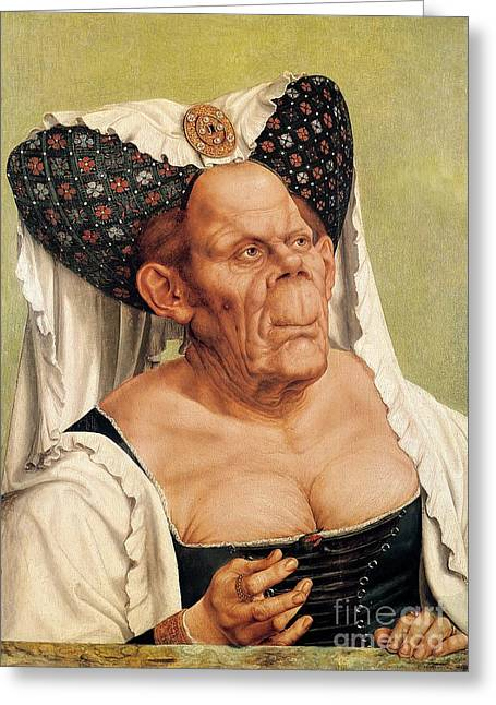 Caricatures Greeting Cards - A Grotesque Old Woman Greeting Card by Quentin Massys