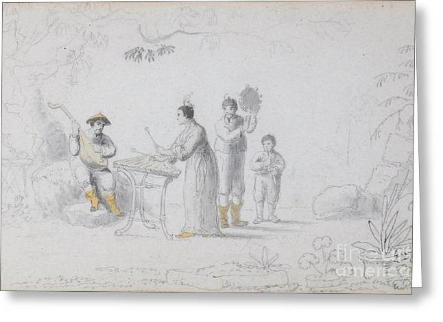 A Group Of Chinese Musicians Performing Beneath A Tree Greeting Card by MotionAge Designs