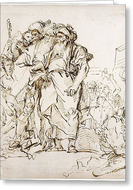 Giovanni Battista Tiepolo Greeting Cards - A Group Of Oriental Magicians And Other Figures Greeting Card by Celestial Images