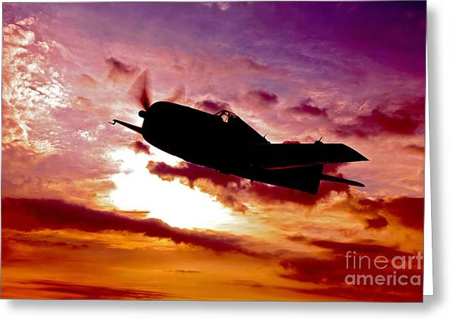 Propeller Greeting Cards - A Grumman F6f Hellcat Fighter Plane Greeting Card by Scott Germain