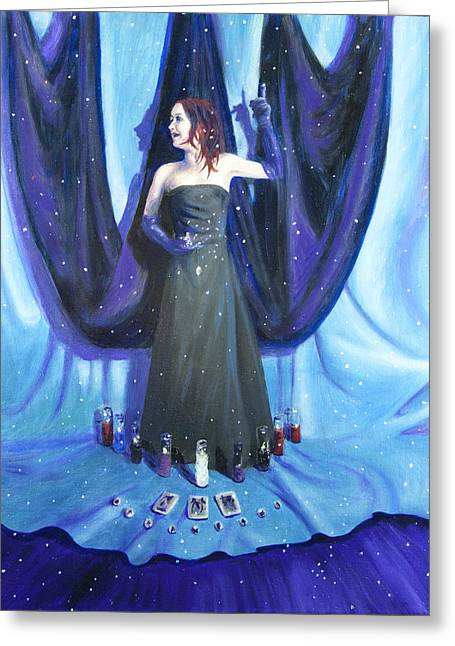 Wiccan Art Greeting Cards - A Ha Greeting Card by Shelley Irish