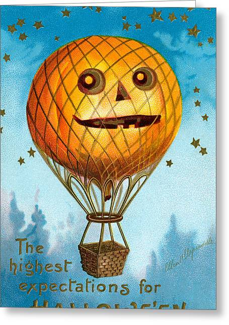 Ballooning Greeting Cards - A Halloween Pumpkin Hot Air Balloon Greeting Card by Ellen Hattie Clapsaddle
