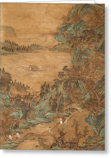 Ying Greeting Cards - A Hanging Scroll In The Style Of Qiu Ying Greeting Card by Celestial Images