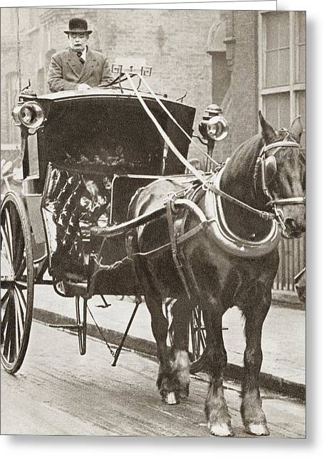 Hansom Cab Greeting Cards - A Hansom Cab In London, England In Greeting Card by Ken Welsh