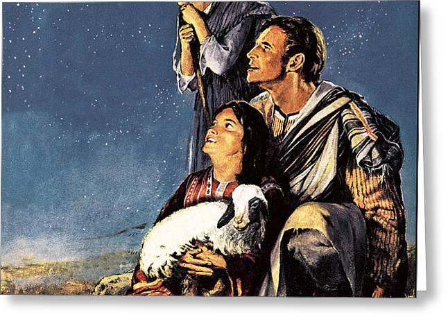Star Of Bethlehem Drawings Greeting Cards - A Happy Christmas Greeting Card by JM Watt