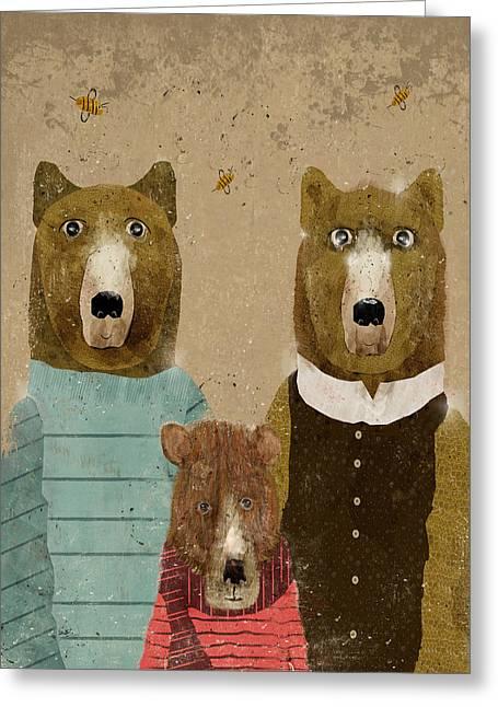 Brown Bear Digital Greeting Cards - A Happy Family Greeting Card by Bri Buckley