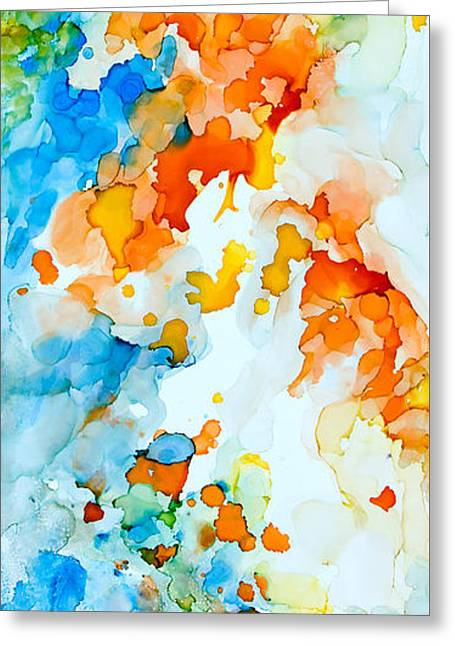 Beige Abstract Greeting Cards - A Happy Place - A Greeting Card by Sandy Sandy
