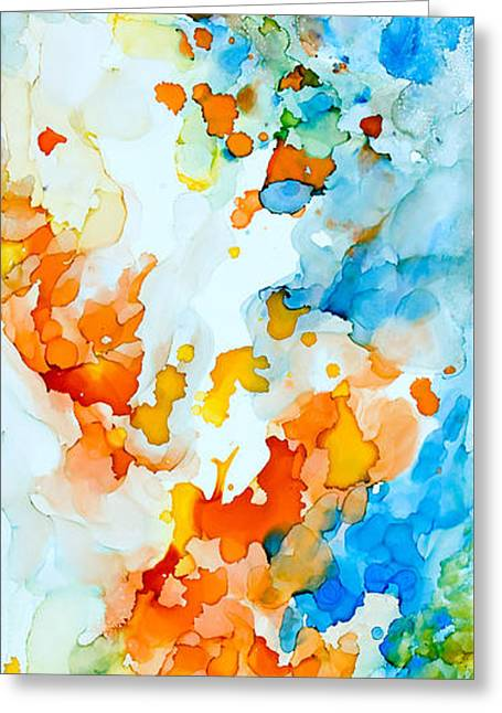 Beige Abstract Greeting Cards - A Happy Place - C Greeting Card by Sandy Sandy