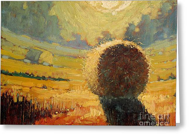 Pleinair Greeting Cards - A Hay Bale in the French Countryside Greeting Card by Robert Lewis