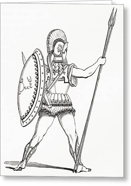 A Heavily Armed Greek Warrior Dressed Greeting Card by Vintage Design Pics