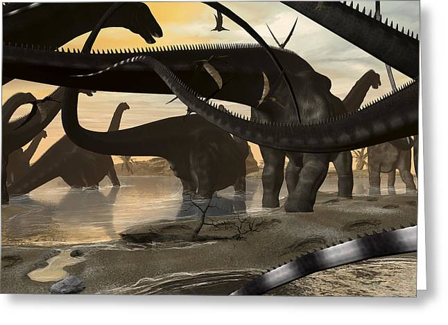 On The Beach Greeting Cards - A Herd Of Argentinosaurus Marching Greeting Card by Kurt Miller