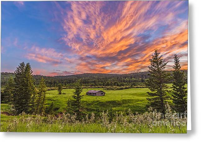 Cypress Hills Interprovincial Park Greeting Cards - A High Dynamic Range Photo Of A Sunset Greeting Card by Alan Dyer