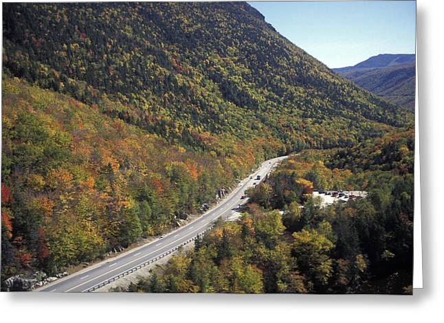 Mountain Road Greeting Cards - A Highway Cuts Through The White Greeting Card by Richard Nowitz