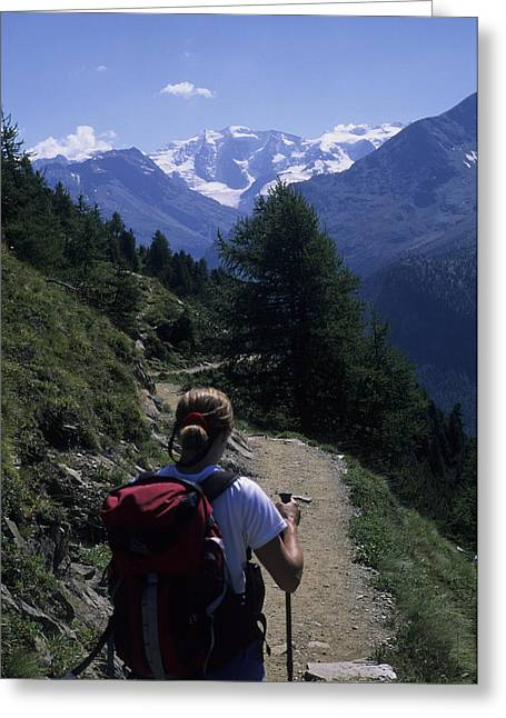 Graubunden Greeting Cards - A Hiker Enjoys The View Of The Glacier Greeting Card by Taylor S. Kennedy