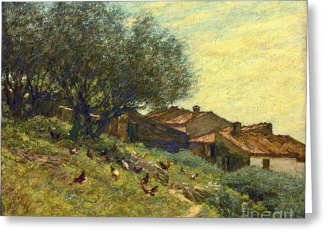 Thangue Greeting Cards - A Hillside Village in Provence Greeting Card by MotionAge Designs