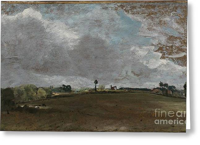Constable; John (1776-1837) Greeting Cards - A Hilltop Greeting Card by Celestial Images