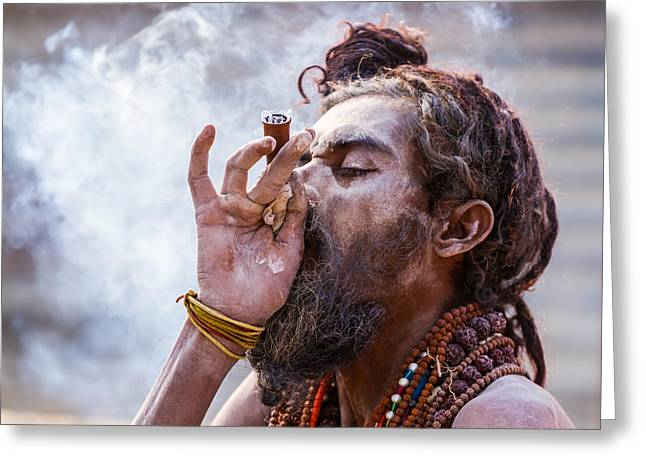 Ganja Greeting Cards - A Hindu sadhu smoking a hash pipe - India. Greeting Card by Nila Newsom