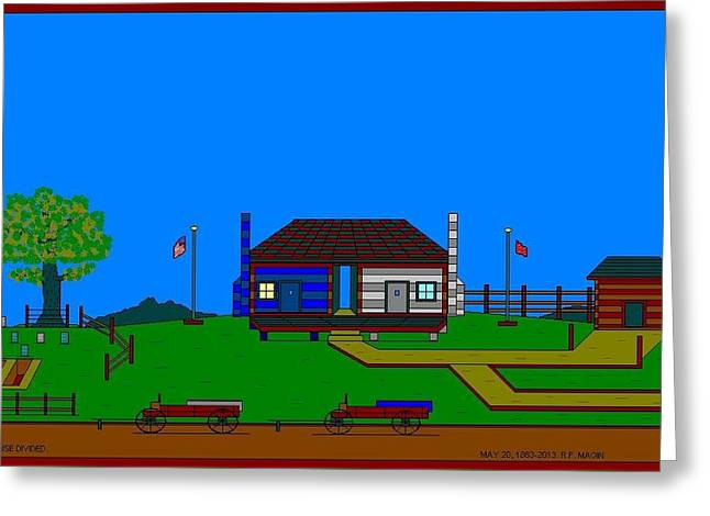 Etc. Paintings Greeting Cards - A House Divided. Greeting Card by Richard Magin