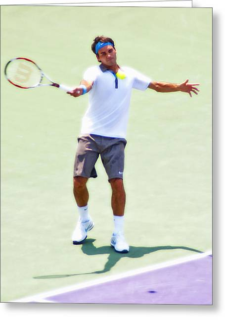Roger Federer Greeting Cards - A Hug From Roger Greeting Card by Steven Sparks