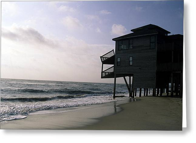 Rodanthe Greeting Cards - A Hurricane Damaged House On The Coast Greeting Card by Stacy Gold