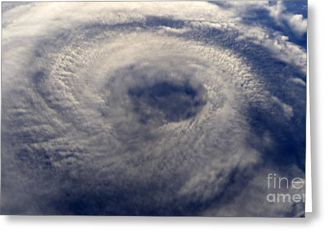 A Hurricane On Earth Viewed From Space Greeting Card by Unknow
