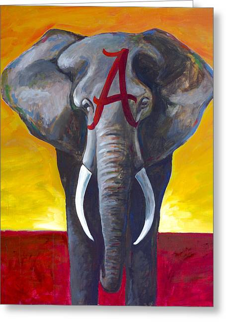 Roll Tide Paintings Greeting Cards - A is for Alabama Greeting Card by Will Eskridge