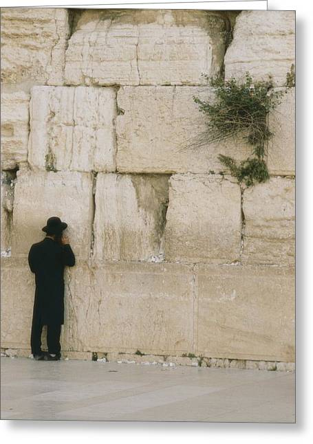 Judaic Greeting Cards - A Jewish man stands at Greeting Card by Anne Keiser