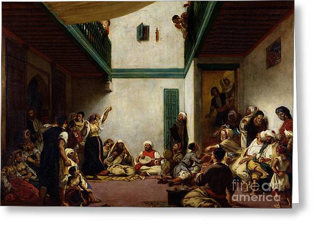 Victor Greeting Cards - A Jewish wedding in Morocco Greeting Card by Ferdinand Victor Eugene Delacroix