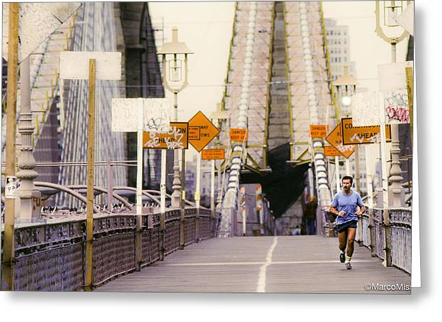 Jogging Greeting Cards - A Jog on the Bridge Greeting Card by Marco Missinato