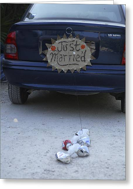Just Married Greeting Cards - A Just Married Sign And Tin Cans Greeting Card by Stephen Alvarez
