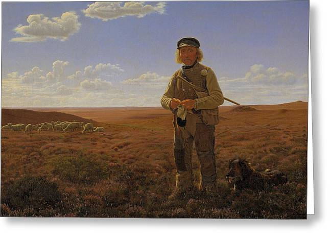 Herding Dogs Greeting Cards - A Jutland Shepherd on the Moors Greeting Card by Frederik Vermehren