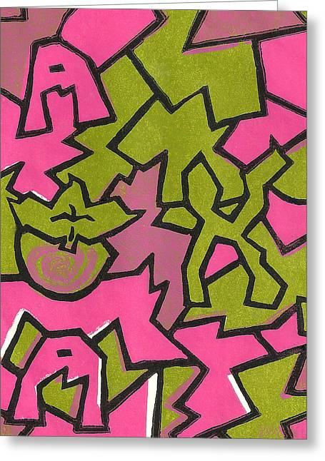 Lino Paintings Greeting Cards - A K A Abstract Greeting Card by BFly Designs